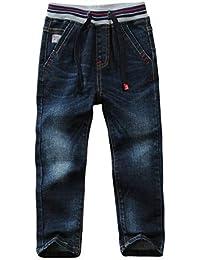 LAPLBEKE Jungen Jeans Kordelzug Bund Jeanshose Straight Fit Denim Hosen für Kinder Blau