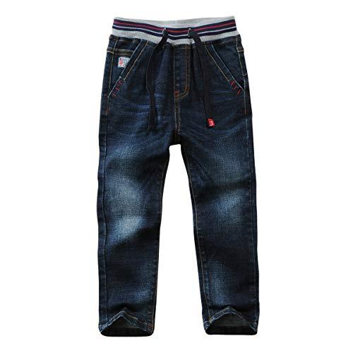 LAPLBEKE Jungen Jeans Kordelzug Bund Jeanshose Straight Fit Denim Hosen für Kinder Blau 134