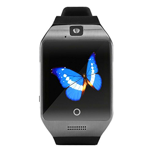 Smart watch / Orologio Intelligente Clode® Q18S Camera intelligente Vigilanza di Bluetooth GSM TF Orologio da Polso per Samsung (Colour : Nero)