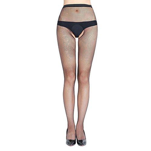 HCFKJ DessousErotik Damen Set Hot Fischnetz Open Soft Tights Lingerie Transparente Erotic Lace Bodysuit (Black, C) -