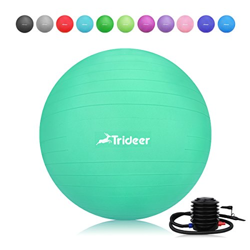 Trideer 45-85cm Exercise Ball (11 Colors) , Birthing Ball, Ball Chair, Yoga Pilate Balance Ball with Pump, Anti-Slip & Anti-Burst, 2000lbs Extra Thick Core Cross Training Ball for Office and Home…