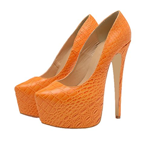 HooH Femmes Peau De Serpent Platform Stilleto Travail Escarpins Orange