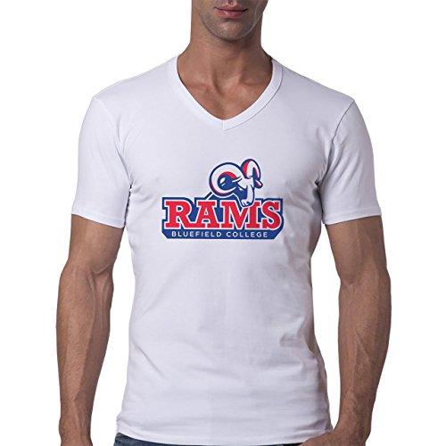 Rams Bluefield College Logo Herren V-Neck T-Shirt Weiß