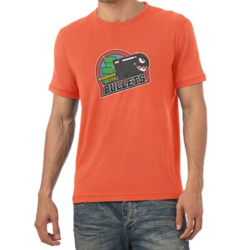 NERDO - Mushroom City Bullets - Herren T-Shirt, Größe XXL, (Tetris Orange Kostüme)