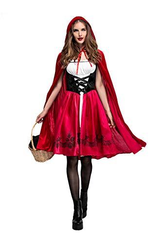 Frauen Kleine Rotkäppchen Halloween Cosplay Kostüm Make Up Party Dress,S (Make-up Halloween S)