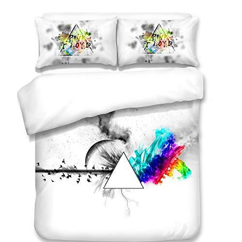 eiliges Set 3D Bettwäscheset Pink Floyd Pattern Printed (1 Bettbezug + 2 Kissenbezüge) Für Teens Boy Girl,Twin ()