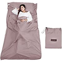 Queta Sleeping Bag Liner, Camping Sheet Sleeping Bag Liner Travel Sheet Liner with Carrying Bag Lightweight for Hotels Mountain Camping Outdoor Activities
