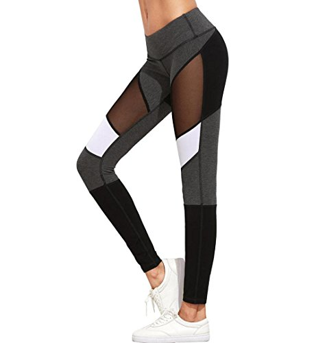 ZEZKT☀Schwarz und Weiß Patchwork Mesh Yoga Hosen Frauen Stretch Sport Leggings Hosen Push up Strumpfhosen Trainings Gymnastik Athletische Pants Fitness Yoga High Waist Lang Workout Tights (S, Grau) (Sport-bh Athletischer)