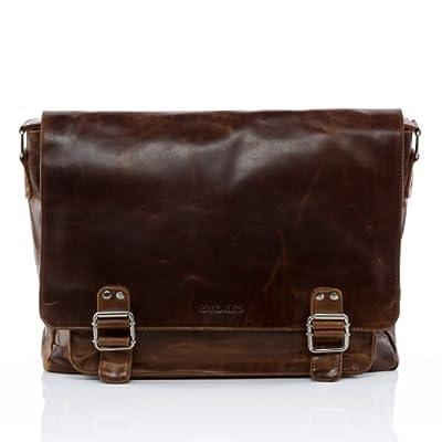 """STOKED sac de messenger NATHAN - grand - sac à bandoulière approprié pour 15,4"""" - besace clair marron en cuir véritable"""