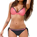 ZIYOU Badeanzug Frauen Bandeau Bandage Bikini Set Push-Up BH und G-String Bikinihose für Damen Badebekleidung (Wassermelonenrot,Small)