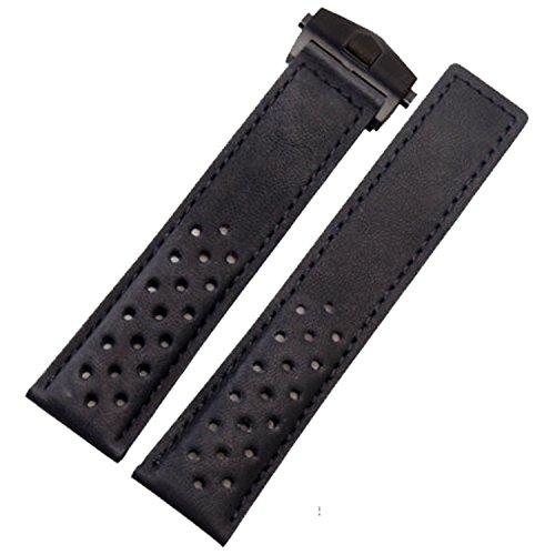 TIME4BEST Herren 22mm schwarz Wildleder Leder perforiert Uhrenarmband Schwarz Faltschließe kompatibel mit Tag Heuer (Leder-tag -)