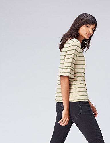 FIND Damen T-Shirt mit Streifen und Leicht Gerüschten Ärmeln Grün (Olive/sand)