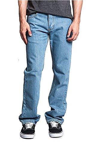 Huntadeal Mens Boys Euro Denim 100% Cotton Jeans Plain Straight Leg Denim Wash Jean Classic Heavy Duty Designer Fit Casual Work Wear Zip Fly Belt Loop Trousers Pants Pocket Sizes 30-50
