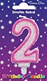 Simon Elvin Age 2 Second Birthday Cake Candle Pink Number 2 Cake Decoration (Se)