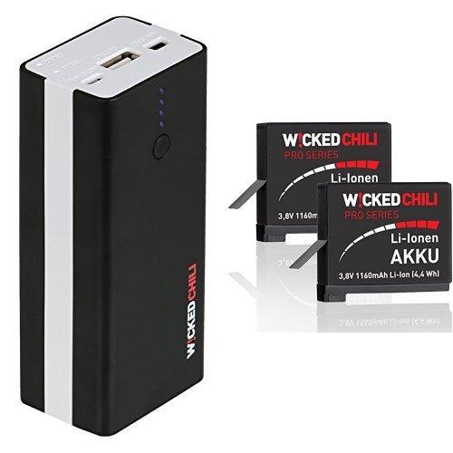 Wicked Chili 5,2 Ah Dual Powerbank für GoPro HERO4 Akkus und einem USB Gerät + 2x ProSeries Akku für GoPro Hero 4 Black / Silver Edition [ersetzt AHDBT-401] (Li-Ion, 1160mA)