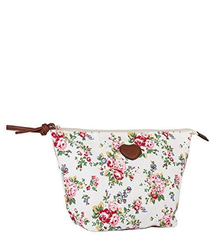 SIX Kosmetiktasche, große Schminktasche aus Canvas in weiß mit romantischem Blumenmuster, Rosen...