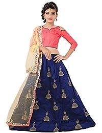 Femisha Creation Girls Lehenga Choli Party Wear Embroidered Lehenga, Choli and Dupatta Set (Blue, Raimbo)