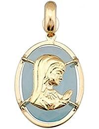 Colgante oro 18k Virgen Nina sobre piedra oval 14x10 azul sintética. Largo (mm.): 16. Ancho (mm.): 12. Longitud asas (mm.): 6. Peso (gr.): 1