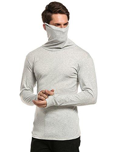 Coofandy Herren Slim Fit Pullunder Unterhemd Thermische Rollkragen Langarmshirt Sweatshirt Thermische Pullover Grau