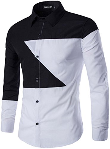 Jeansian Hommes Fashion Stitching Chemises Casual Manches Longues Men Casual Shirt Slim Fit Tops 84C6 Black&White