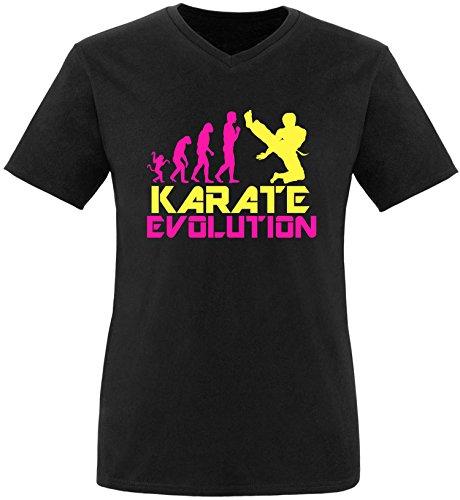 EZYshirt® Karate Evolution Herren V-Neck T-Shirt Schwarz/Pink/Gelb