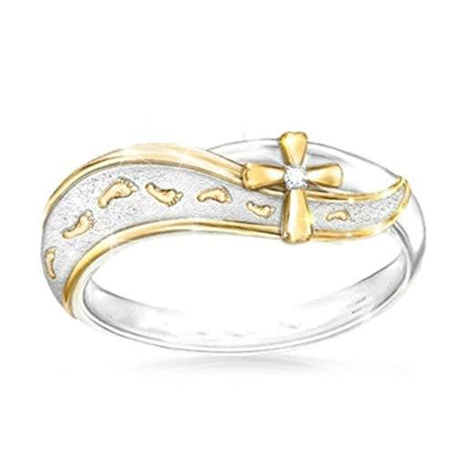Essencedelight, anello a croce con strass, doppio colore, elegante anello da donna, rame, come mostrato, 8#