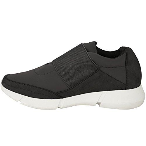 Femmes Runner Baskets Fitness Gym Sport Mode Chaussures Pointure Noir Daim Synthétique