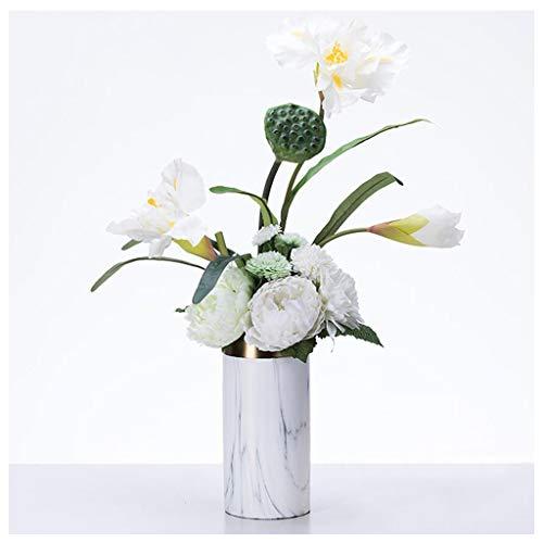 Vase Décoration Salon Arrangement De Fleurs en Céramique en Marbre Moderne Européen Table De Salle À Manger Décorations Douces (Envoyer des Fleurs Artificielles) ZHAOJING (Taille : B)
