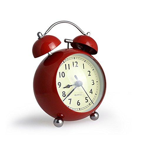 """Jinberry 3.5"""" (9cm) Retro Reloj Despertador Silenciosos de Doble Campana con la Curva de Vidrio / Vintage Mesa Alarma de Metal con Luz - Roja"""