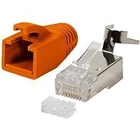 odedo® 10er Pack Crimpstecker orange CAT 7, CAT 7A, CAT 6A für Verlegekabel bis 8mm 10GBit Gigabit Ethernet starre oder Flexible Adern 1.2mm-1.45mm, RJ45 Stecker Metall geschirmt Einfädelhilfe