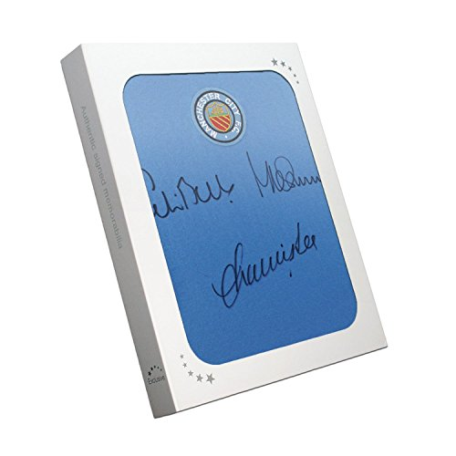 Manchester City Hemd von Colin Bell, Francis Lee und Mike Summerbee signiert ist. In Geschenkbox (Fußball-trikot Bell)