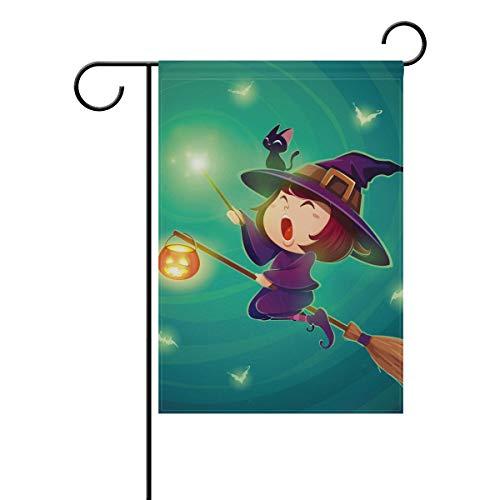 30,5 x 45,7 cm, Happy Halloween-Muster, kleine Hexe, fliegend, doppelseitig, Polyester Banner für drinnen und draußen, für Rasen und Hof, Dekoration, Image 616, 28x40(in) ()