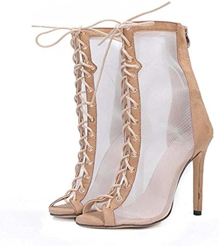 Mujeres 11.5 cm Stiletto Peep Toe Neto Hilo Correas Cruzadas Zapatos de vestir Encantador Color puro Hueco Cordón...