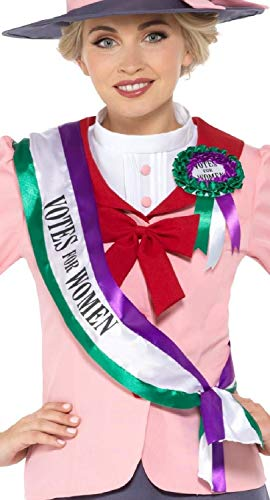 Fancy Me Damen Mädchen Suffragette historisch viktorianische Schärpe, Rosette für Schule, Junggesellinnenabschied, Party, Kostüm-Zubehör-Set