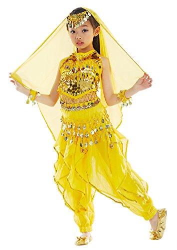 BellyQueen Mädchen Bauchtanz Kleidung Tanzkleid Kinder Ägypten Indische Tanz Outfits 7 Stücke Gelb-M (Tanz Performance Kostüm Kinder)
