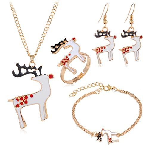 ZOYLINK 5 STÜCKE Weihnachtsschmuck Dekorative Hirsch Armband Halskette Fingerring Ohrringe
