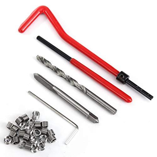 Yongse 30 Stück M5 Metrische Gewinde-Reparatur-Einsatz-Kit Pro Coil Drill kompatibel Hand-Reparatur-Werkzeug-Set -
