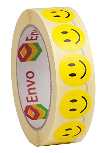 1,000 Rollo De Pegatinas De Caras Sonrientes Redondas 25mm Color Amarillo