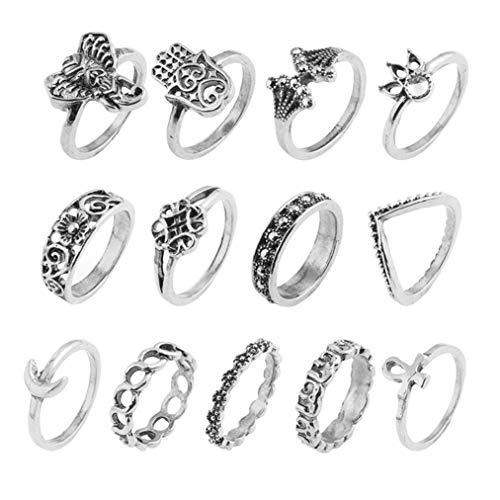 Sevenfly 13pcs / Set Neue Vintage Krone Ringe für Frauen Punk große Palm Elefant Frauen Ring schmuck Valentines Tag Geschenk, alte Silberne Farbe (Große Silberne Ringe Für Frauen)