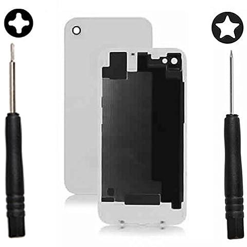 SPARFIX® - Vitre Arrière de Remplacement iPhone 4/4S Noir ou Blanc + Tournevis