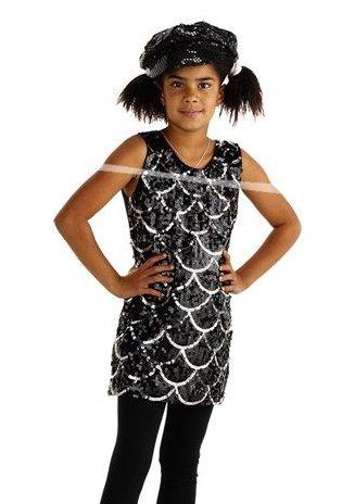 Folat 21845 -Disco-Kleid, Größe L, schwarz