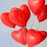 100pcs MOOKLIN Globos del corazón Globos de la Boda rojos Globos en forma de corazón para Cumpleaños Boda festival o Decoración navideña