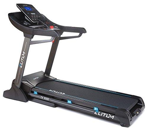 Elitum Laufband TX1000 Bluetooth, USB, SD, Aux, eingebaute Lautsprecher, klappbar, 1-20 km/h, 3 PS, 18 Trainingsprogramme, belastbar bis 150 kg