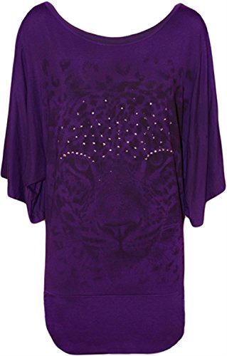 New Womens Plus Size Sequin Tiger Print Kimono Batwing Sleeve Tops ( Purple , UK 20 / EU 48 ) (Top Print-kimono Sleeve)
