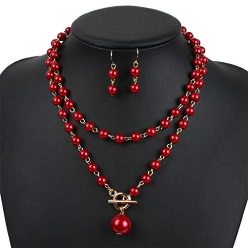 (Yunteng-Halskette Damen Schmuck Künstliche Perlenkette Ohrring Set der 1920er Jahre mehrschichtige Künstliche Perlenkette Weibliche Schlüsselbein Frauen Party Zubehör (Farbe : Red))