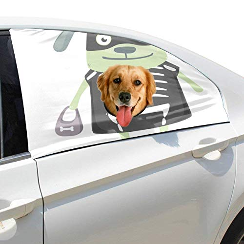 Hunde Kostüm Beängstigend - Plsdx Grüner Hintergrund Hund Haustier Hund Sicherheit Autoteil Fahrzeug Auto Fenster Zaun Vorhang Barrieren Protector Für Baby Kind Sonnenschutz Abdeckung Universal Fit SUV