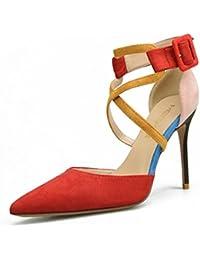 7d4c20550d23 Damen Sexy Hoch Absätze Spitz Zehe Pumps Stilett Sandale Gericht Schuhe  Party Kleid Abschlussball Nachtclub