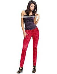Leggings Neon Pink Rosa Rot Pants M 38 40 Hose sexy Disco Party Schlagerparty