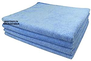 SOFTSPUN Microfiber Cloth - 4 pcs - 40x40 cms - 340 GSM Sky Blue - Thick Lint & Streak-Free Multipurpose Cloths - Automotive Microfibre Towels for Car Bike Cleaning Polishing Washing & Detailing