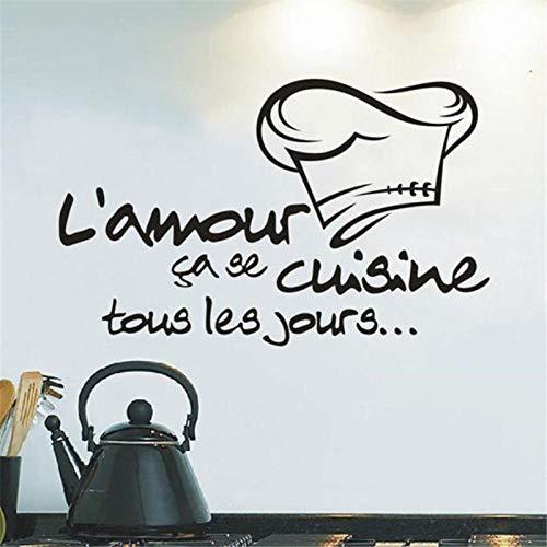 Einfache küche chef cap wandaufkleber küche decor diy sticking poster schwarz französisch brief cook cap aufkleber abnehmbare (Weltkarte Cap)